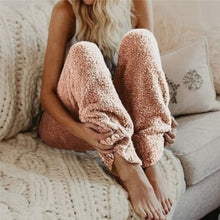 Load image into Gallery viewer, Women's Fashion Elastic Waist Plush Trousers Plus Size Solid Color Loose Casual Pajamas Long Pants