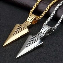 Load image into Gallery viewer, Men's Fashion Jewelry Gold Silver Arrow Head Pendant Long Chain Necklace