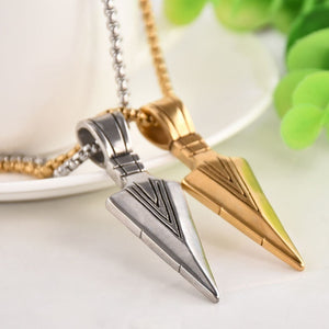 Men's Fashion Jewelry Gold Silver Arrow Head Pendant Long Chain Necklace