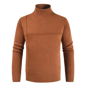 Men's Turtleneck Sweater Solid Color Casual Sweater Men's Slim Fit Knitted Pullovers