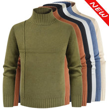 Load image into Gallery viewer, Men's Turtleneck Sweater Solid Color Casual Sweater Men's Slim Fit Knitted Pullovers