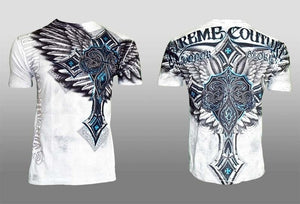 XTREME COUTURE by AFFLICTION Mens T-Shirt LAST BLOW Tattoo WHITE Biker UFC