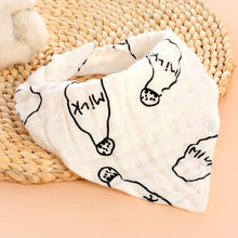 Load image into Gallery viewer, 1pcs Gauze double button triangle towel cartoon print baby bib baby saliva towel