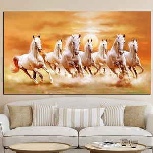 Seven Running Horse Animals Painting Artistic Canvas Art Gold Posters and Prints Modern Wall Picture For Living Room (No Frame)