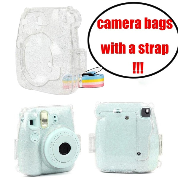 Mini 9 Case Transparent Plastic Cover Instant Camera Protect Bag with Strap