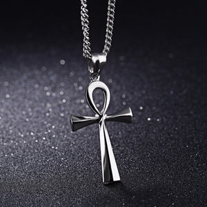 New Sgical Steel Gold Color Ankh Egyptian Key of Life Cross Pendant Necklaces 23.6in 60CM Link Chain for Women Men Gift
