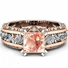 Load image into Gallery viewer, Two Tone Gold Ring Princess Cut Champagne Topaz Engagement Ring 14K Rose Gold Filled&925 Sterling Silver Wedding Ring size 5-12