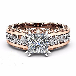 Two Tone Gold Ring Princess Cut Champagne Topaz Engagement Ring 14K Rose Gold Filled&925 Sterling Silver Wedding Ring size 5-12