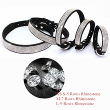 Load image into Gallery viewer, Pet Supplies Rhinestone Puppy Cat Collar Adjustable Bling Leather Kitten Collar for Small Medium Dogs Cats  xxs-L)