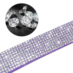 Pet Supplies Rhinestone Puppy Cat Collar Adjustable Bling Leather Kitten Collar for Small Medium Dogs Cats  xxs-L)