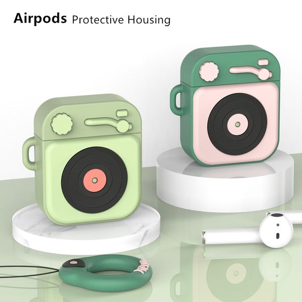 Airpods Protective Cover for Apple Bluetooth Headset Set Silicone Cartoon Protective Sleeve Ins Epoxy Craft Cartoon Phonograph Retro Style