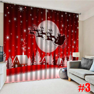 10 Style 2Pcs Christmas Window Curtain Home Living Room Bedroom Curtains Thermal Drapes Door Screen Decoration