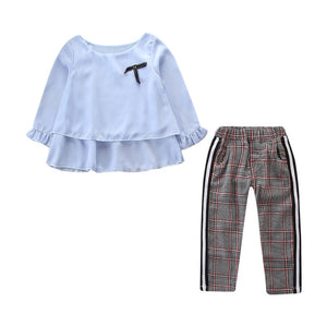 2019 Kids Toddler Outfits Long Sleeved Babygirls Ruffle T-Shirt Tops+Checked Pants Set