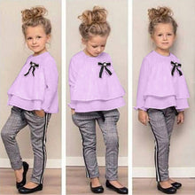 Load image into Gallery viewer, 2019 Kids Toddler Outfits Long Sleeved Babygirls Ruffle T-Shirt Tops+Checked Pants Set