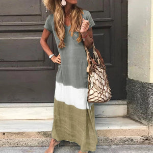 Womens Gradient Color Block Maxi Dresses Patchwork V Neck Short Sleeve Fall Plus Size Loose Long Dress
