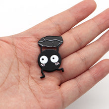 Load image into Gallery viewer, Hayao Miyazak Anime Brooches Spirited Away SOOT SPRITE Enamel Pin for Kids Lapel Pin Hat Bag Pins Women Briquettes Brooch S63