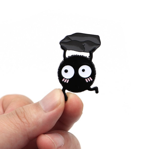 Hayao Miyazak Anime Brooches Spirited Away SOOT SPRITE Enamel Pin for Kids Lapel Pin Hat Bag Pins Women Briquettes Brooch S63