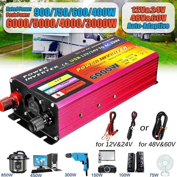 Solar Inverter 12V/24V 220V/110V 3000W-6000W Peaks Power Inverter Voltage Convertor Transformer 48V/60V Automatic Adaptable