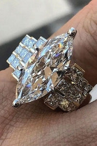 Large 925 Genuine Solid Sterling Silver White Sapphire Diamond Rings Jewelry Bridemaids Gifts Size 6 7 8 9 10 (S925 STAMP)