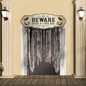 Beware Enter At Own Risk Door Curtain Boneyard Halloween Party Decorations