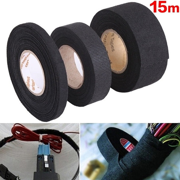 15m High Temperature Resistance Adhesive Cloth Tape for Cable Harness PVC Car Auto Heat Sound Isolation