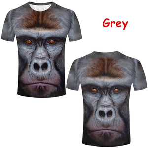 Funny Stereoscopic 3D Monkey Print T-shirt Personality Men's Orangutan Animal Tops