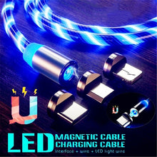 Load image into Gallery viewer, Led Light Magnetic Charger Cable Flowing 2.4A Fast Charging Magnet Micro USB Type C Lightning Cable For iPhone Samsung OPPO VIVO Huawei LED Magnetic Wire Cord