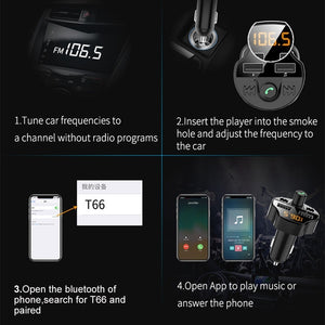 Bluetooth 5.0 Car Kit Car Wireless FM Transmitter MP3 Player Dual USB Fast Car Charger with TF Slot