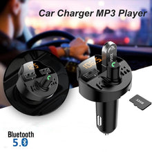 Load image into Gallery viewer, Bluetooth 5.0 Car Kit Car Wireless FM Transmitter MP3 Player Dual USB Fast Car Charger with TF Slot