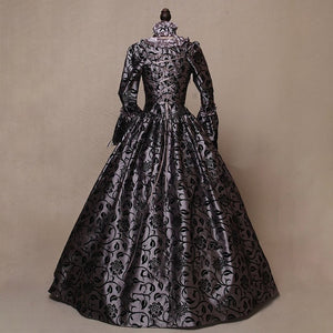 Women Fashion Floor Length Dress Medieval Gothic Retro Floral Print Victorian Ball Gowns Theatre Clothing Elegant Cosplay Dress Costume Court Costume