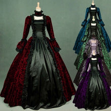 Load image into Gallery viewer, Women Fashion Floor Length Dress Medieval Gothic Retro Floral Print Victorian Ball Gowns Theatre Clothing Elegant Cosplay Dress Costume Court Costume