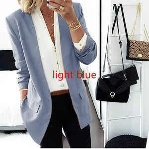 Pure Color Ladies Slim Fitting Small Suit Coat Fashion Autumn Winter Solid Color Long Sleeve Cardigan Outwear Tops Clothing