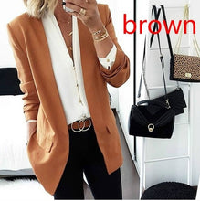 Load image into Gallery viewer, Pure Color Ladies Slim Fitting Small Suit Coat Fashion Autumn Winter Solid Color Long Sleeve Cardigan Outwear Tops Clothing