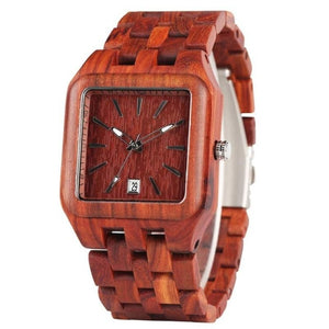 Retro Wood Rectangle Dial Light Clock Man Full Natural Woody Bracelet Calendar Date Quartz Wrist Watches
