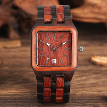 Load image into Gallery viewer, Retro Wood Rectangle Dial Light Clock Man Full Natural Woody Bracelet Calendar Date Quartz Wrist Watches