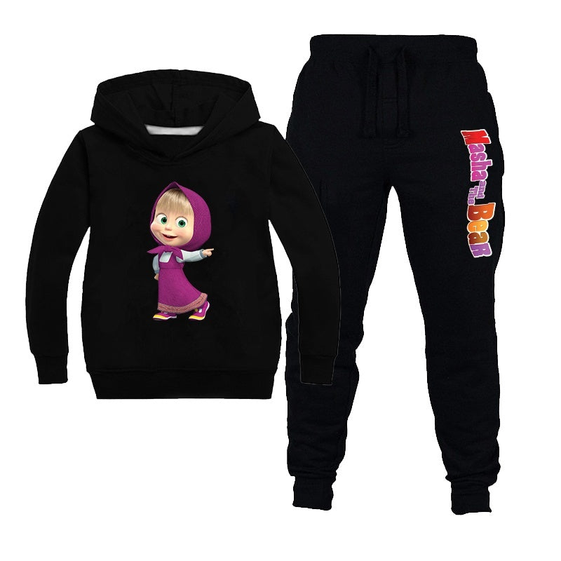 Masha and The Bear Printed Hoodie Sets Kids Sweatshirt + pants 2 Piece Set Cotton Tracksuit for Girls