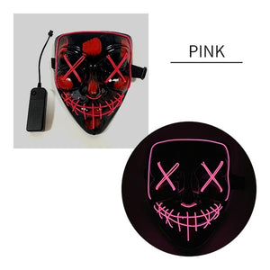 3-Modes Halloween Scary Mask Cosplay Led Costume Mask EL Wire Light up for Halloween Festival Party