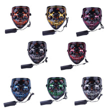 Load image into Gallery viewer, 3-Modes Halloween Scary Mask Cosplay Led Costume Mask EL Wire Light up for Halloween Festival Party