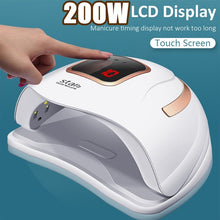 Load image into Gallery viewer, UV LED 200W Touch Screen 36Pcs LED 10s 30s 60s 99s LCD Display Nail Lamp Nail Dryer With Handle Polish Infrared intelligent Response Nail Art Tool