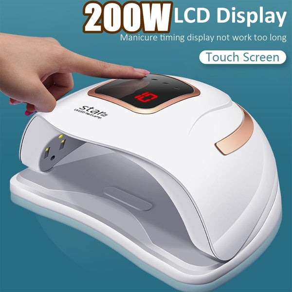 UV LED 200W Touch Screen 36Pcs LED 10s 30s 60s 99s LCD Display Nail Lamp Nail Dryer With Handle Polish Infrared intelligent Response Nail Art Tool