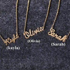 Women Letter Name Emma Emily Pendant Chain Customized Nameplate Necklace Chain Necklace Gift