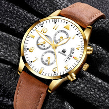 Load image into Gallery viewer, Fashion Men Date Alloy Case Synthetic Leather Analog Quartz Sport Watch Mens Watches Top Brand Luxury Masculino Reloj