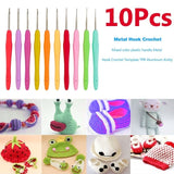 14 PCS Crochet Hook Set With Case,Extra Long Knitting Needles Soft Grip Hooks Standard US Size