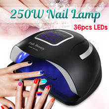 Load image into Gallery viewer, 250W LED Nail Dryer UV Lamp Gel Nail Polish Fast Curing Light Timer Sensor Salon