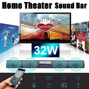 2019 Wireless Bluetooth Sound Bar Theater Soundbar System Speaker Home TV Echo-wall Wall-mounted Audio RC Subwoofer (Color: Black)