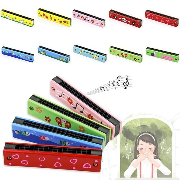 Kids Wooden Children Harmonica Instruments Early Education Parent-child Teaching Aids