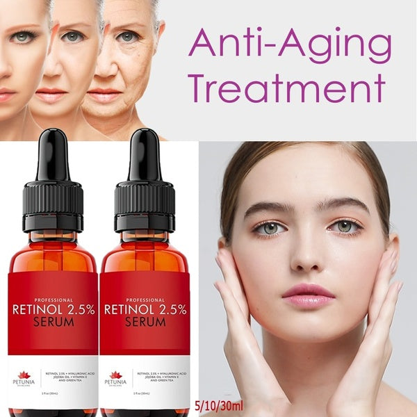 Age Defying  Anti Wrinkle Firming Repair Treatment Retinol Serum 2.5% for the Face,with Hyaluronic Acid + Jojoba Oil + Vitamin E and Green Tea - 5/10/30ML
