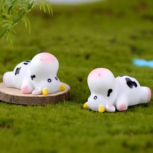 5Pcs/Set Kawaii Mini Cow Animals Micro Fairy Garden Figurines Miniatures Ornaments Home Bonsai Dollhouse Decorations DIY Accessories