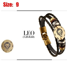Load image into Gallery viewer, 2019 New Style 12 Constellations Multi-layer Leather Cuff Chain Lucky Charm Bracelet Fashion Jewelry for Women and Men Bronze Alloy Buckles Multi-Layers Bracelets Casual Personality Vintage Punk Black Bracelet Accessories Birthday Valentines Day Gift