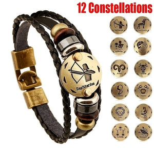 2019 New Style 12 Constellations Multi-layer Leather Cuff Chain Lucky Charm Bracelet Fashion Jewelry for Women and Men Bronze Alloy Buckles Multi-Layers Bracelets Casual Personality Vintage Punk Black Bracelet Accessories Birthday Valentines Day Gift